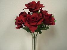 "2 Bushes RED Open Rose Artificial Silk Flowers 15"" Bouquet 7-039RD"