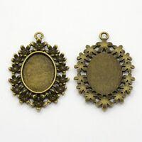 10 x Oval pendant tray  Antique Bronze Color, Bezel Tray: 18x25mm dewsupplies