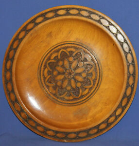 Vintage wall decor floral pyrography wood plate