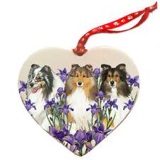 Shetland Sheepdog Sheltie Dog Porcelain Floral Heart Shaped Ornament Décor Pet G