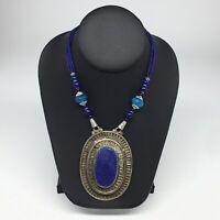 Turkmen Necklace Antique Afghan Tribal Lapis Lazuli Inlay Pendant Necklace VS75