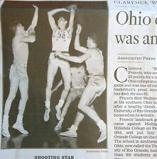 1932-2015 CLARENCE BEVO FRANCIS OBITUARY OHIO COLLEGE BASKETBALL PLAYER