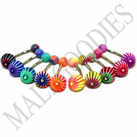 W031 Acrylic Belly Naval Rings Stripes Design LOT of 10