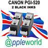 2 Canon PGI520 BLACK Chipped Compatible Ink Cartridges