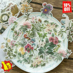 60pieces Vintage Flowers Stickers Stationery DIY Scrapbooking Stickers Decor