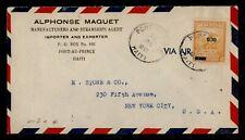 DR WHO 1947 HAITI PORT AU PRINCE AIRMAIL TO USA OVPT  g17894