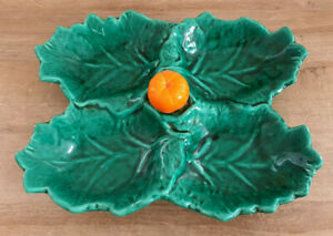 Antique Flat Servant By 4 Style vallauris Leaf Green Orange At Center