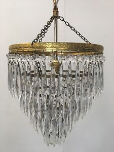 Antique French Crystal Brass Tier Light Ceiling Pendant Chandelier Glass (QP115)