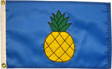 """Pineapple on French Blue Flag 12""""x18"""" - High Quality Hand Sewn in the USA"""