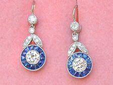 ART DECO 1.22ctw DIAMOND .78ctw SAPPHIRE HALO PLATINUM SHORT DANGLE EARRINGS