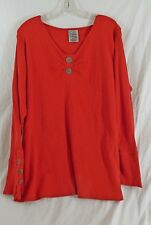 Avenue The Stella Henley Tomato Red Thermal Style Long Sleeves