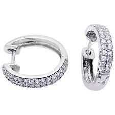 PAVE SET HOOP  .925 Sterling Silver Earrings