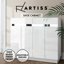 Artiss 120cm Shoe Cabinet Shoes Storage Rack High Gloss Cupboard White Drawers
