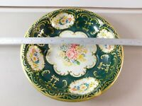 """Vintage Daher Decorated Ware Round Tin Bowl Made in England Floral Green 10"""""""