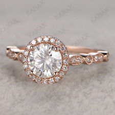 Real 14k Rose Gold 1.75 Ct Diamond Round Cut Halo Engagement Ring for Women's