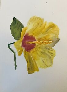 """Original Watercolour Painting Single Orchid/lily Flower A4 8x12""""By D Coleman"""