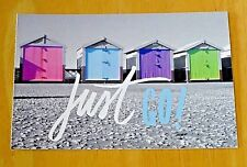 PAPERCHASE, LONDON ~ TRAVEL POSTCARD ~ BEACH HUTS -  'JUST GO!' ~ NEW