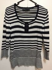 Laura Ashley Black And White Striped Knit Top /Light Jumper Size 12