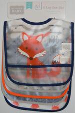 New Luvable Friends Blue Orange Fox Easy Clean 5 Waterproof Boy Pocket Feed Bibs