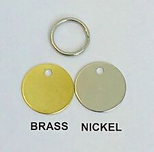 Luxury Engraved Dog Pet Name ID Tag Cat Puppy Collar 20mm Nickel Brass Disc Disk Brass