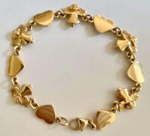 "❤️James Avery Bracelet Angel & Heart - GOLD - 7½"" Retired Vintage Link X-Rare❤️"