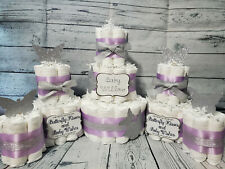 3 Tier Diaper Cake and sets - Butterfly Kisses and Baby Wishes Purple Silver
