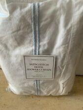 """Restoration Hardware Satin Stitch Hotel Shower Curtain BLUE Stripe 72"""" x 72"""