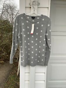 NWT Talbots Soft Gray White Polka Dots 100% Cashmere Sweater Medium