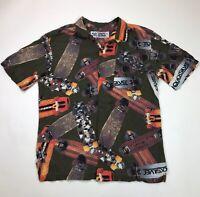 Powell Peralta Mens Hawaiian Print Rayon Shirt Size Medium Olive Skateboard Rare