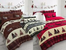 Stag XMAS Tartan Thermal Flannel Duvet Cover Set Brushed Cotton All British Size