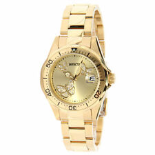 Invicta Lady's 12505 Pro Diver Gold Tone Dial Yellow Steel Watch