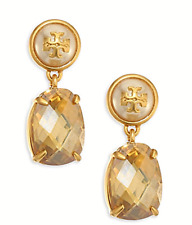 NWT Authentic TORY BURCH Epoxy Pearl Stone Earrings Vintage Gold w/ Gift Box $98