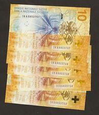2016 Suiza 10 francos Studer & Maechler firmado (3) primeros prefijo 16 A ~ UNC