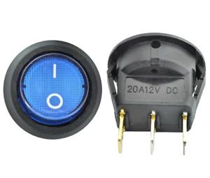 12v LED illuminated rocker switch 20A 12V Push button ON/OFF Round Blue. 0164
