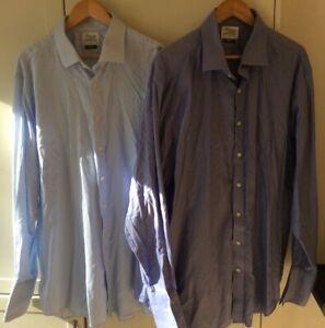 tm lewin shirt 19 BUNDLE Blue Stripes Herringbone Long Sleeve Double Cuff Used