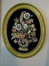 Vintage Jewelry Art, Arrrangement in Oval Goldtone Frame.9xll in.outer meas.00AK