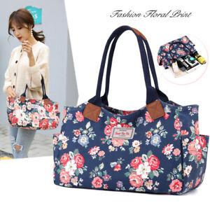 Women Lady Floral Print Tote Casual Work Travel Shopping Bag Shopper Handbag