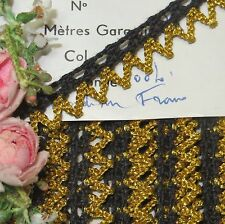 "1y VTG 1/2"" FRENCH BLACK GOLD METAL RICK RACK JACQUARD TRIM DOLL DRESS ROCOCO"