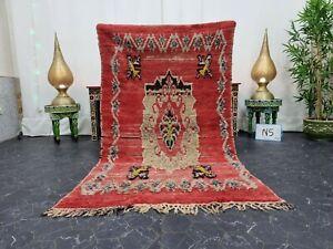 "Moroccan Handmade Vintage Rug 4'x6'5"" Berber Abstract Red Black Carpet"