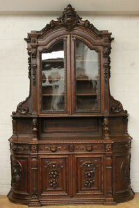 Antique French Renaissance Hunt Carved Cabinet Buffet W/ Curved Sides