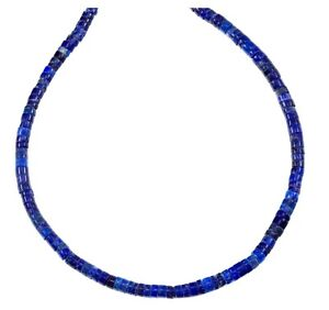 """Lapis Lazuli Necklace Solid Strand Heishi 18 """" Blue 14k Gold GF Sterling Silver"""