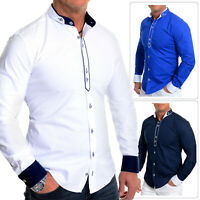 Mens Stylish Grandad Collar Shirt Casual Formal Celebration Elegant Cuffs Tie