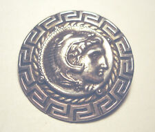 "Beautiful Vintage 800 Silver Roman Head Coin Greek Key Bordered 1 5/8"" Pin"