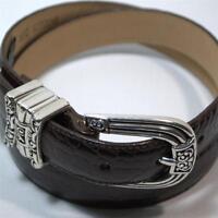 Brighton Leather Belt Size Medium 30 Ladies Black Silver Tone Scrolls Buckle
