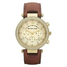 Michael Kors Parker Gold Dial SS Leather Chrono Quartz Ladies Watch MK2249