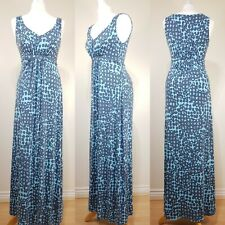 Boden Ladies Blue Floral Jersey Long Maxi Dress Size 10 Stretch Summer Holiday