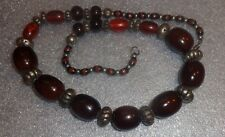 fine large brown oval amber bead necklace