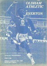 OLDHAM ATHLETIC V EVERTON F.C 1983/84 PRE SEASON FRIENDLY PROGRAMME