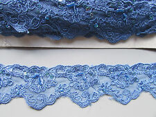 Blue Lace Sequin & Beaded Trim X 1 Metre   Sewing/Costume/Crafts/Goth