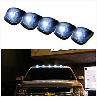 5 Pcs Smoke White Lens LED Roof Running Lights Cab Marker Cover for SUV 4X4